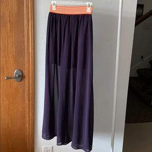 Eggplant Chiffon Maxi Skirt